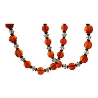 Beautiful Art Deco Genuine Carnelian and Crystal Necklace