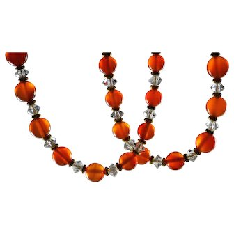 Beautiful Art Deco Genuine Carnelian and Crystal Necklace