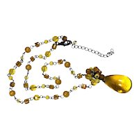 Large Yellow Art Glass Teardrop Pendant Necklace