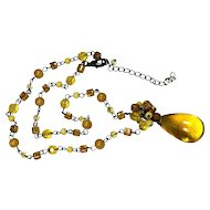Large Yellow Art Glass Teardrop Pendant Necklace