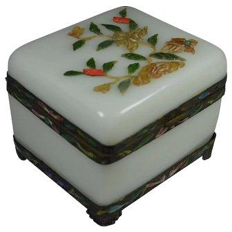 Outstanding Chinese Peking Glass Casket Opaline Box