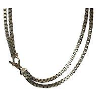 Heavy Box Link Necklace Mid Century Modern