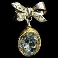 Mid-Century Brooch Pin Dangling Crystal Bow