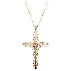 14k Vintage Diamond Cross Pendent