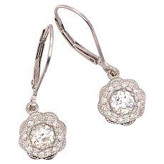 Vintage Inspired Dangle Diamond Earrings