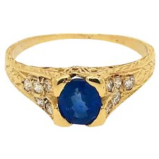 Sapphire Diamond 18k Vintage Ring
