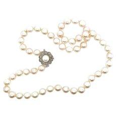 Pearls Vintage Strand 14k Flower Clasp Japanese Akoya Pearls