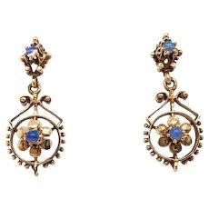Victorian 14k Estate Moonstone Earrings