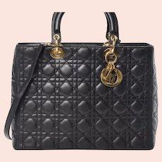 Christian Dior, Lady Dior Handbag, Lambskin Cannage Large