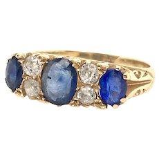 Antique Sapphire Diamond Victorian Ring