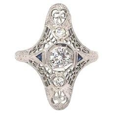 Diamond Vintage Art Deco Engagement RIng 18k