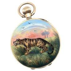 Antique 14k Enameled Tiger Pocket Watch