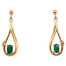 Vintage Emerald Diamond 14K Earrings