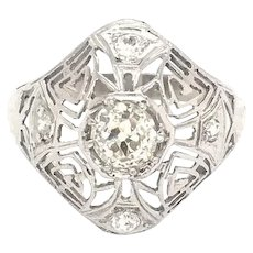 Engagement Ring, DIamond, Art Deco 18k