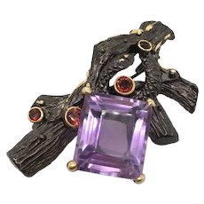Amethyst, Garnet, Brooch, Pin In Sterling Silver