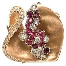Ruby and Diamond 14k Flower Ring Custom Made