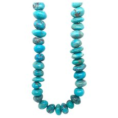 Vintage Turquoise Necklace Long Strand Of Beads