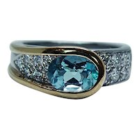 Richard Krementz RKG 1866 Platinum 18K Gold Aquamarine Diamond Ring Designer