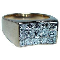 OSCAR HEYMAN Brothers Asscher Diamond Ring 18K Gold Platinum