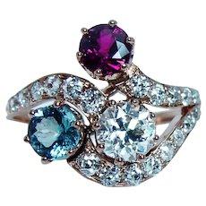 Imperial Russian European Diamond Ruby Aquamarine Ring 14K Pink Gold Antique