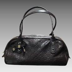 Gucci Brown Leather Logo Handbag Shoulder Bag Italy Excellent