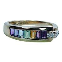 Guy Laroche Diamond Amethyst Peridot Topaz Citrine Ring 18K Gold Designer Estate