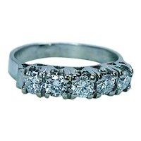 Vintage Diamond 5 stone Anniversary Ring Band 18K White Gold Estate Size 4.5