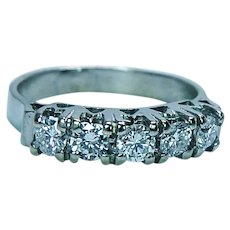 Vintage Diamond 5 stone Anniversary Ring Band 18K White Gold Estate Size 4.5
