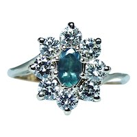 Vintage Natural Genuine Alexandrite 18K Gold Diamond Halo Ring