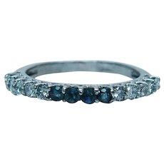 Vintage Natural Alexandrite Diamond Anniversary Ring Band 14K White Gold Estate