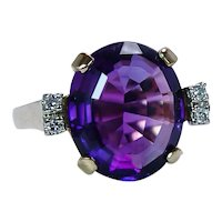 Amethyst Diamond Ring 18K Gold Vintage Estate 7ct