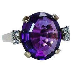 Amethyst Diamond Ring 18K Gold Vintage Estate 7ct