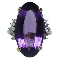 Giant Vintage 15ct Amethyst Diamond Ring 18K Gold Platinum HEAVY Estate Size 9