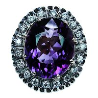 Giant Flawless African Amethyst Diamond 14K Gold Cocktail Heavy Ring 16.5ct