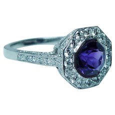 Vintage Platinum Amethyst Diamond Halo Ring