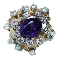 Giant Amethyst Diamond Ring 18K 14K Gold HEAVY