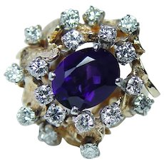 Giant Vintage Amethyst Diamond Ring 18K 14K Gold HEAVY Estate