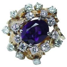 Giant Vintage Amethyst Diamond Ring 18K 14K Gold HEAVY Estate