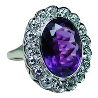 Giant African Amethyst Diamond 14K Gold Cocktail Ring Designer Jose