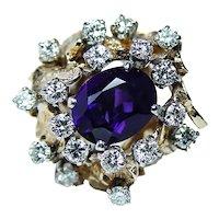 Giant Amethyst Diamond Ring 18K 14K Gold HEAVY Vintage
