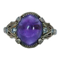 Vintage Amethyst Diamond Ring 14K Gold Estate
