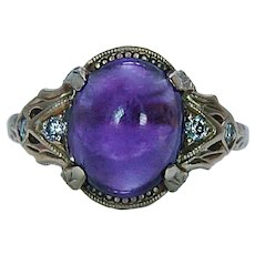 Vintage Amethyst Diamond Ring 14K Gold Estate