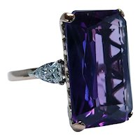 Giant Amethyst Bullet cut Diamond 14K Rose Gold 3 stone Cocktail Ring 25ct