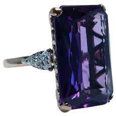 Giant Amethyst Bullet cut Diamond 14K Rose Gold 3 stone Cocktail Ring 31ct