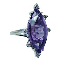 Amethyst Diamond 14K White Gold Ring Large