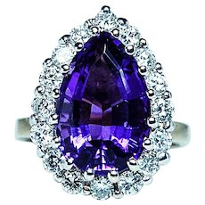 Vintage 18K Gold Diamond Amethyst Cocktail Ring .95ct VS-FG