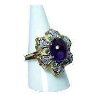 18K Gold Amethyst Diamond Emerald Ring Estate Italy