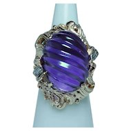 Giant Carved Amethyst 14K Gold Diamond Ring Heavy 18ct