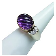 Vintage 14K Gold Diamond Carved Amethyst Ring Vintage Estate 5cts