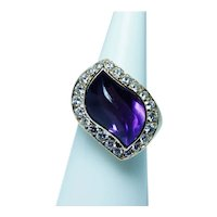 Giant Carved Amethyst Diamond 14K Gold Ring Heavy 7cts